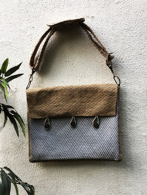Jute & Silk Laptop Bag with Sling - The India Craft House 1