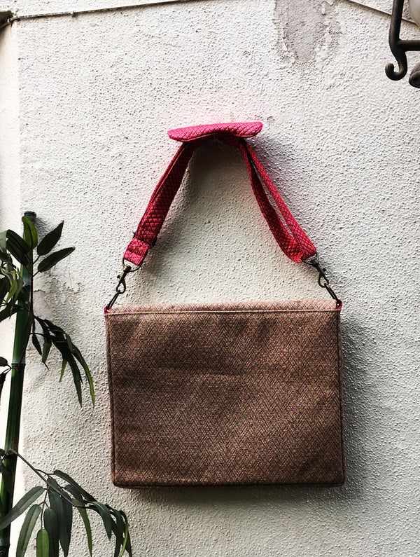 Jute & Silk Laptop Bag with Sling - The India Craft House