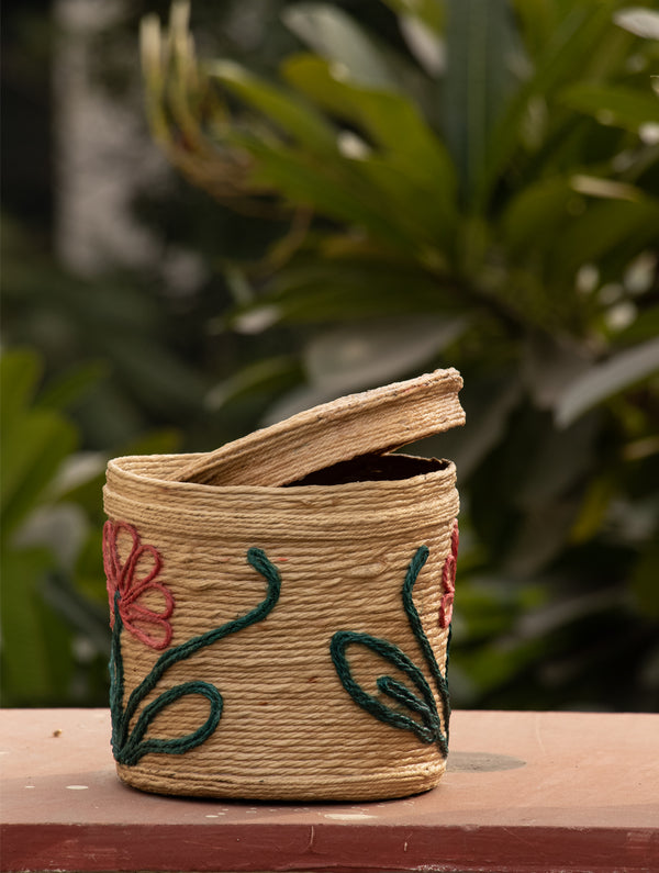 Jute Round Box with Lid - The India Craft House
