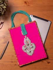 Jute & Silk Ipad Case with Zardozi / Dabka embroidery & Handles - 11 x 8.5 inches