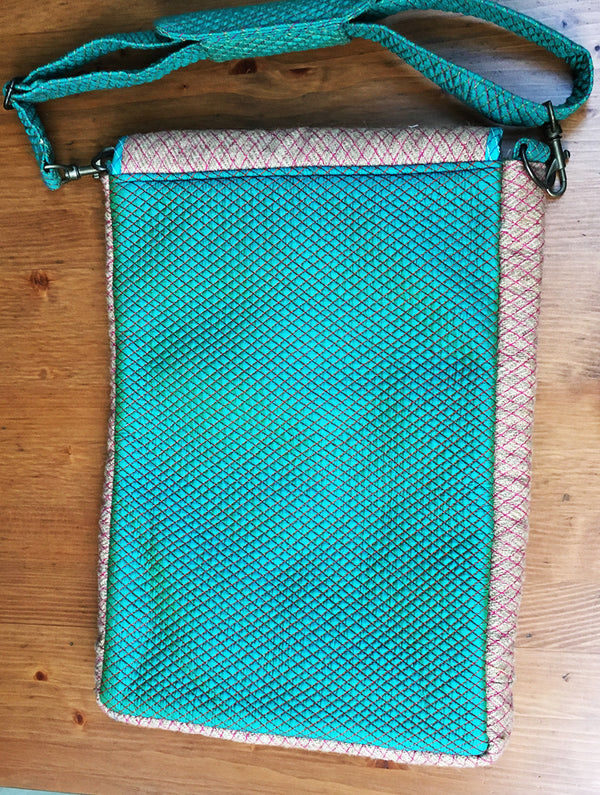Jute & Silk Sling Bag Large - The India Craft House