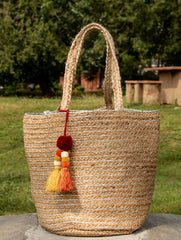 Jute Tote Bag With Silver Fabric - Rectangular