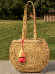 Jute Tote Bag with Gold Fabric - Round