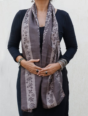 Batik Printed Silk Scarf / Stole - Long - The India Craft House