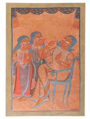 Kalighat Painting with Mount - The India Craft House