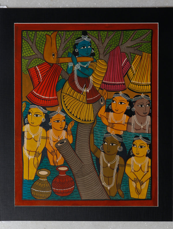 Kalighat Painting with Mount - Lord Krishna - The India Craft House