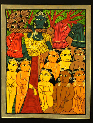 Kalighat Painting with Mount - Lord Krishna
