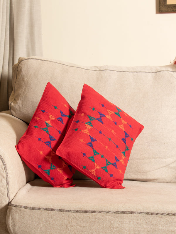 Kashida Embroidered Cushion Covers - Small (Set of 2) - The India Craft House