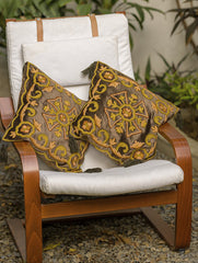 Kashmiri Crewel Work Velvet Cushion Covers (Set of 2)