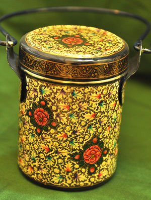 Kashmiri Art - Handpainted and Lacquered Stainless Steel Container