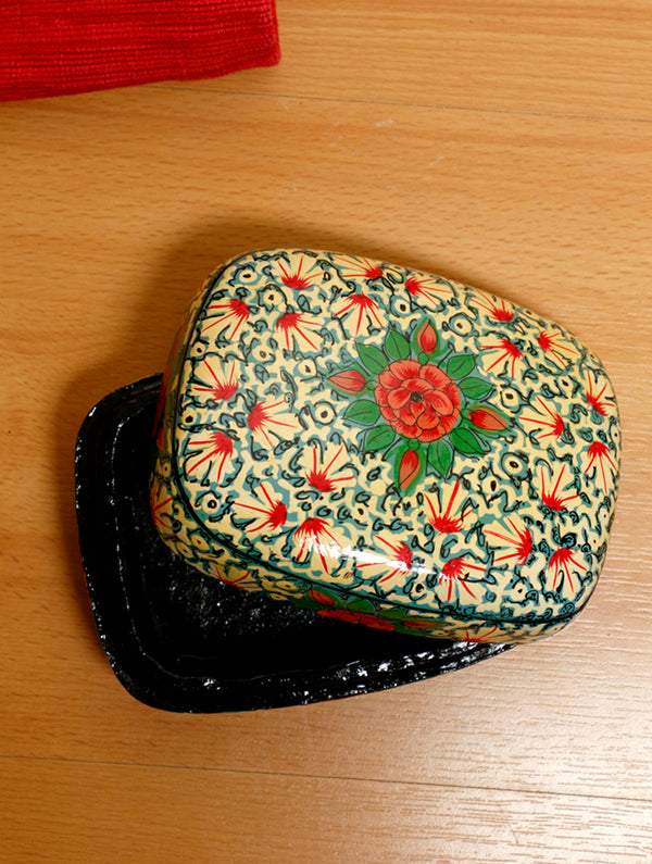 Kashmiri Art Papier Mache - Rectangular Box, Small - The India Craft House