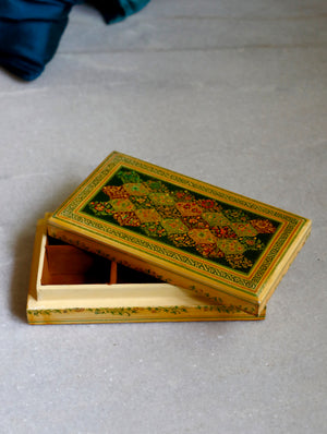 Kashmiri Art Papier Mache - Rectangular Flat Box