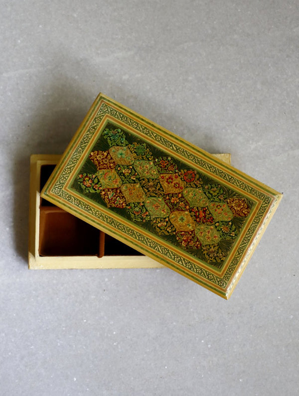 Kashmiri Art Papier Mache - Rectangular Flat Box - The India Craft House