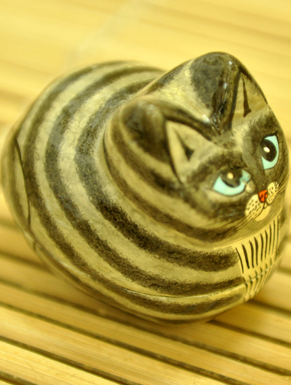 Kashmiri Art Papier Mache - Cat Shaped Box, Small - The India Craft House