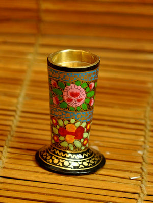 Kashmiri Art Papier Mache - Candle Stand - Cylindrical