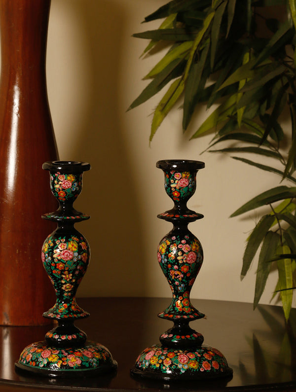Kashmiri Art Papier Mache - Candle Stands, Large (Set of 2) - The India Craft House