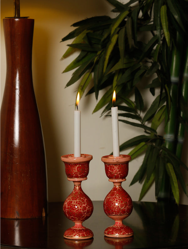 Kashmiri Art Papier Mache - Candle Stands, Small (Set of 2) - The India Craft House