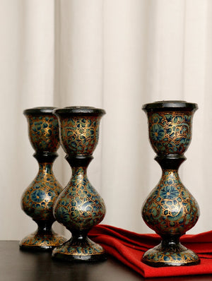 Kashmiri Art Papier Mache - Candle Stands, Small (Set of 3)