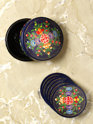 Kashmiri Art Papier Mache - Coaster Set Round with Box