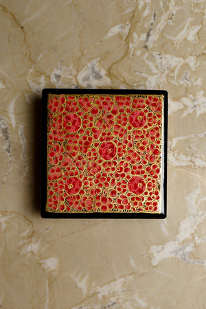 Kashmiri Art Papier Mache - Coaster Set Square with Box