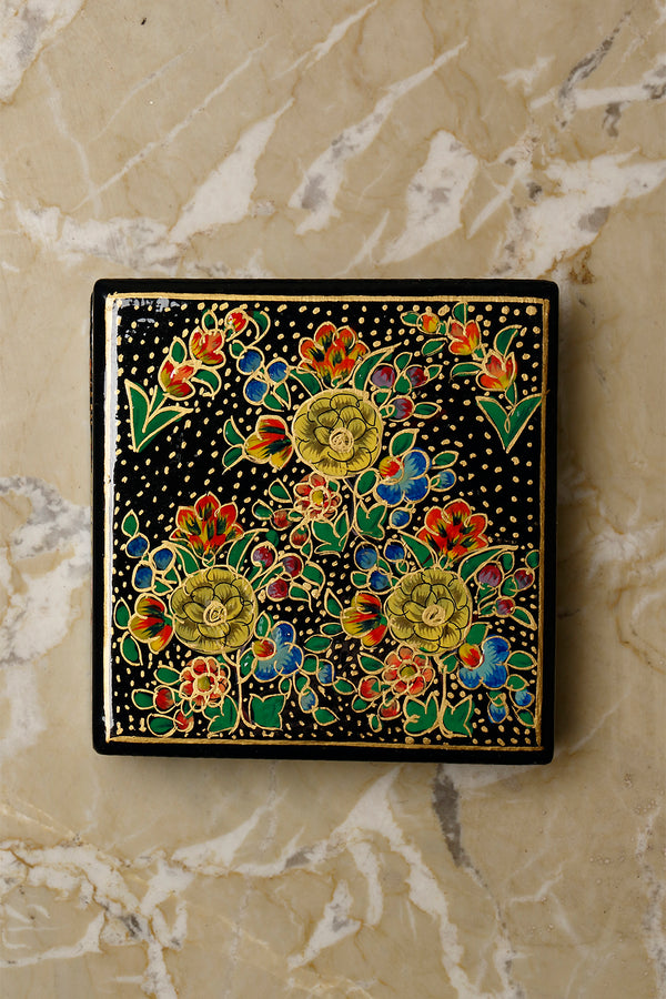 Kashmiri Art Papier Mache - Coaster Set Square with Box - The India Craft House