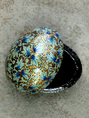 Kashmiri Art Papier Mache - Egg Shaped Box, Chinar, Blue