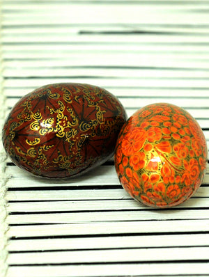 Kashmiri Art Papier Mache - Eggs (Set of 2)