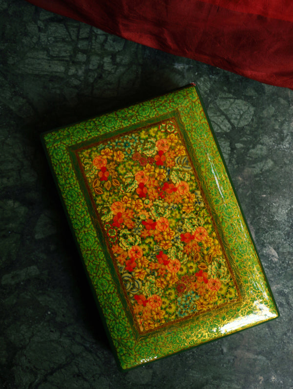 Kashmiri Art Papier Mache - Ornate Rectangular Large Decorative Box  with Pure Gold Leaf Inlay. - The India Craft House