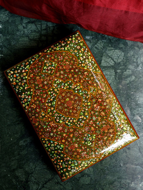 Kashmiri Art Papier Mache - Intricate Rectangular Large Decorative Box  with Pure Gold Leaf Inlay - The India Craft House