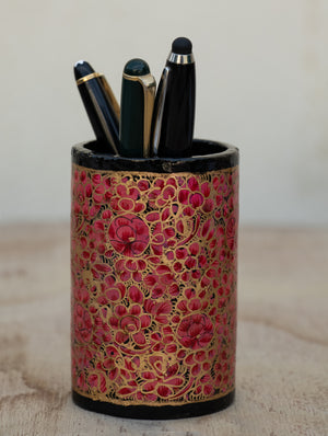 Kashmiri Art Papier Mache - Pen Holder