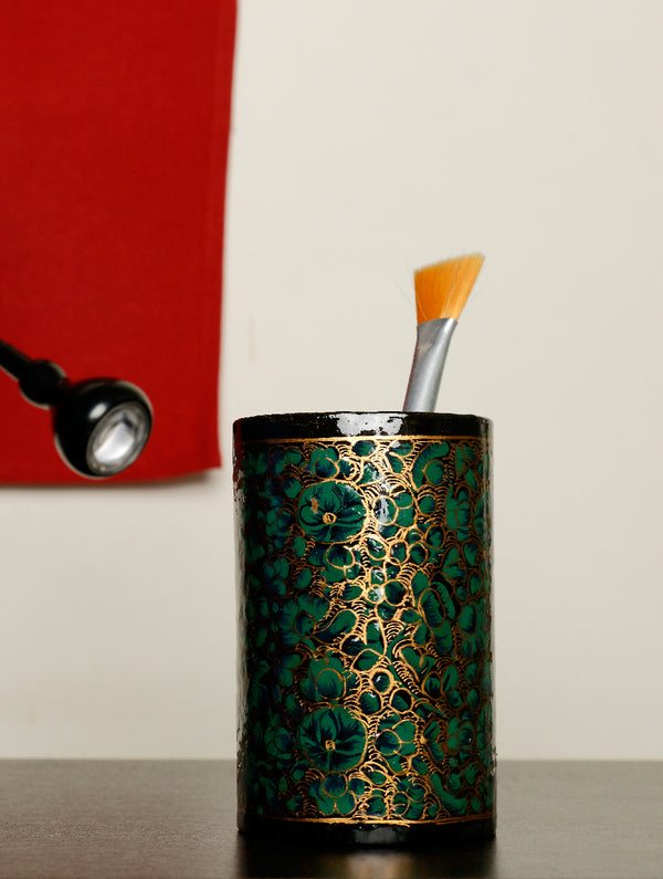 Kashmiri Art Papier Mache - Pen Holder - The India Craft House