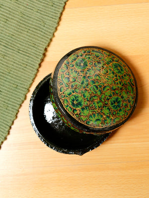 Kashmiri Art Papier Mache - Round Box, Small, Multicoloured