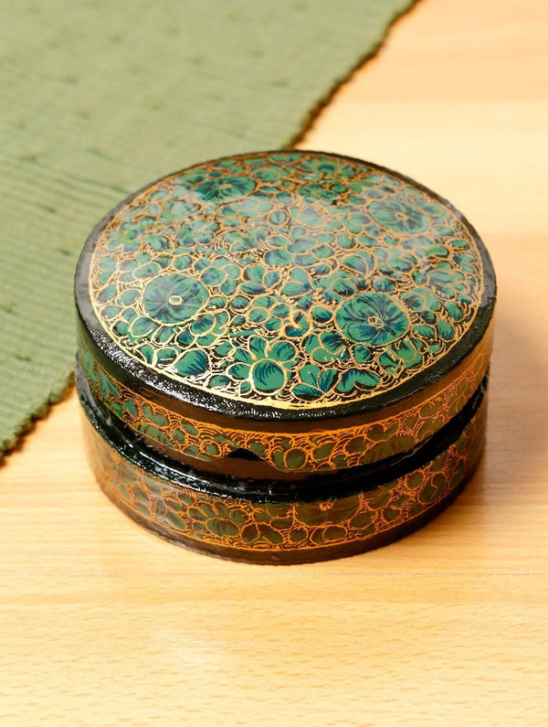 Kashmiri Art Papier Mache - Round Box, Small, Multicoloured - The India Craft House