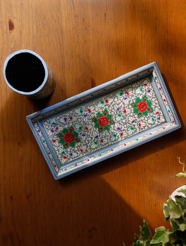 Kashmiri Art Papier Mache - Slim Tray with Pen Stand - The India Craft House