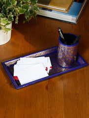 Kashmiri Art Papier Mache - Slim Tray with Pen Stand