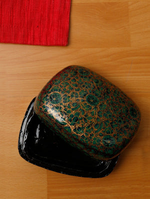 Kashmiri Art Papier Mache - Square Box, Small, Multicoloured - The India Craft House