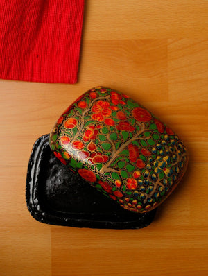Kashmiri Art Papier Mache - Square Box, Small, Multicoloured