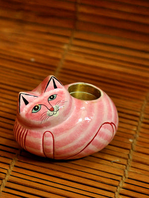 Kashmiri Art Papier Mache - Tea Light Holder, Cat Shaped