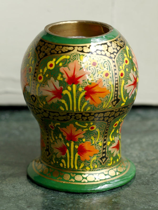 Kashmiri Art Papier Mache - Tea Light Holder, Oval Shaped - The India Craft House