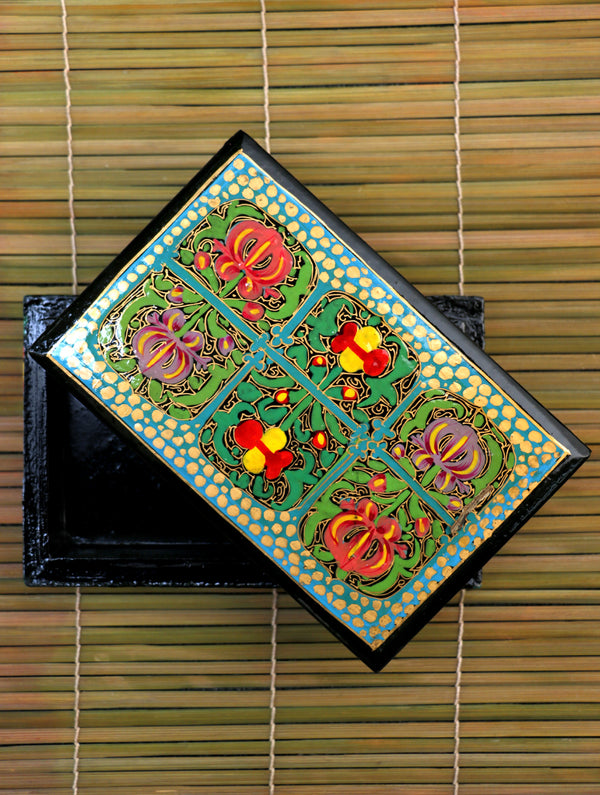Kashmiri Art Papier Mache - Utility Box - The India Craft House
