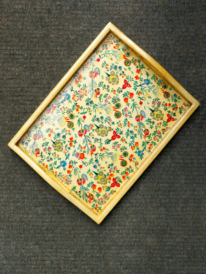 Kashmiri Art Papier Mache Tray, Medium