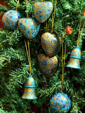 Kashmiri Art Xmas Decorations - Bells, Hearts & Baubles (Set of 8)