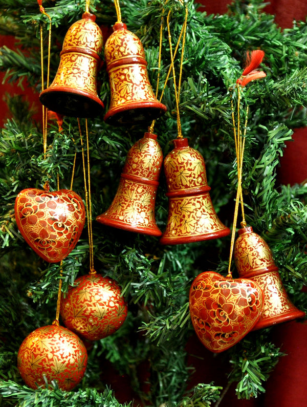 Kashmiri Art Xmas Decorations - Bells, Hearts & Baubles (Set of 9) - The India Craft House