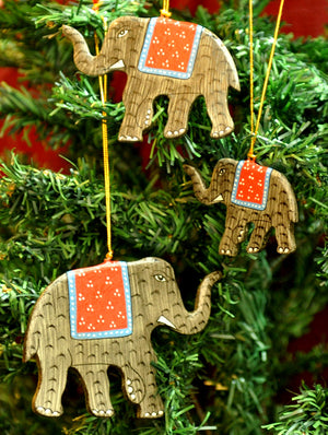 Kashmiri Art Xmas Decorations - Elephants (Set of 3)