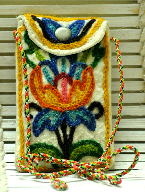 Kashmiri Crewel Work - Mobile Pouch - The India Craft House