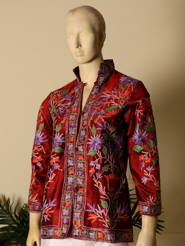 Kashmiri Embroidered Short Jacket - The India Craft House