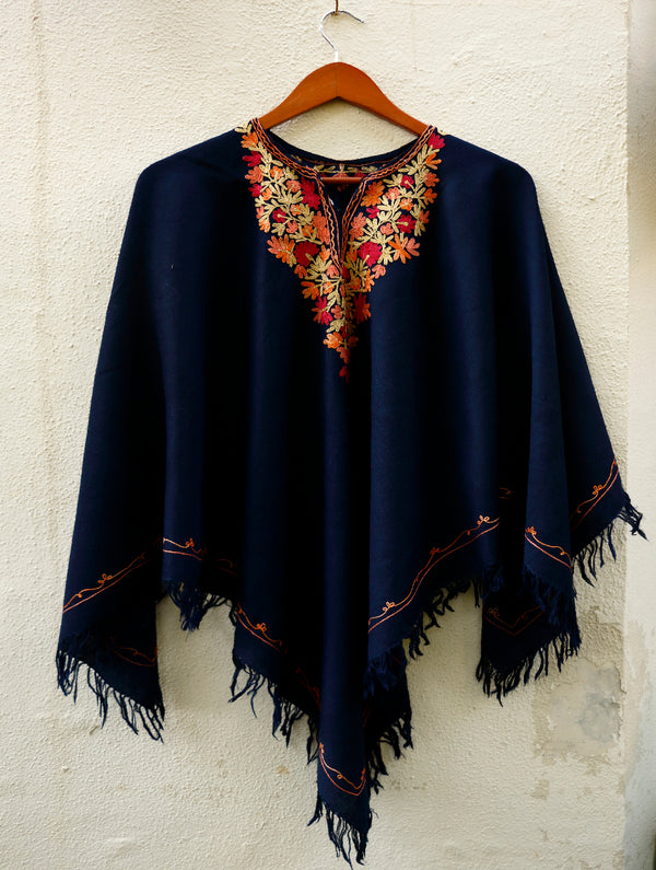 Kashmiri Embroidered Woollen Poncho - The India Craft House