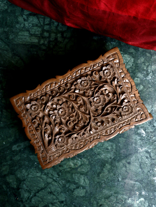 Kashmiri Walnut Wood Carved Box - The India Craft House