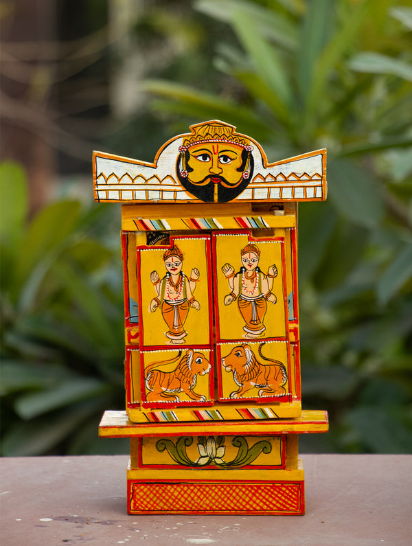 "Kavad Craft Curio - Painted Wood Portable Shrine, 11"" - The India Craft House"