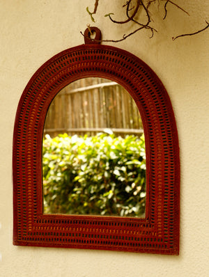 Kutch Cutwork Leather - Mirror Frame, Oval - The India Craft House